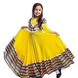 Disfraz de niña mexicana Senorita amarillo tradicional Jalisco vestidos de fiesta del día de los muertos vestido de...